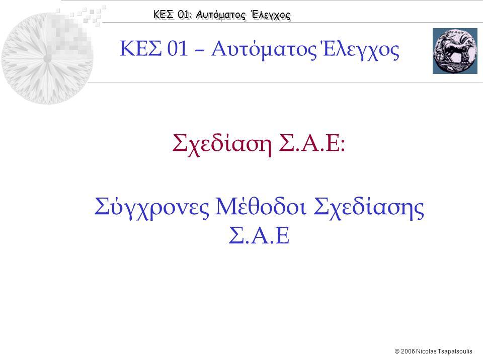 ΚΕΣ 01: Αυτόματος Έλεγχος © 2006 Nicolas Tsapatsoulis ◊Παρασκευόπουλος [2005]: Κεφάλαιο 10: Ενότητες 10.1- 10.3 ◊Παρασκευόπουλος [2005]: Εφαρμογές, Κεφάλαιο 10: Ενότητες 10.1-10.5 ◊DiStefano [1995]: Chapter 20, Sections 20.1 - 20.3 ◊Tewari [2005]: Chapters 5: Sections 5.1-5.4 Βιβλιογραφία Ενότητας  Εισαγωγή  Νόμοι ανατροφοδότησης κατάστασης και εξόδου  Μετατόπιση Ιδιοτιμών  Αποσύζευξη Εισόδων - Εξόδων  Τέλειο Ταίριασμα σε Πρότυπο