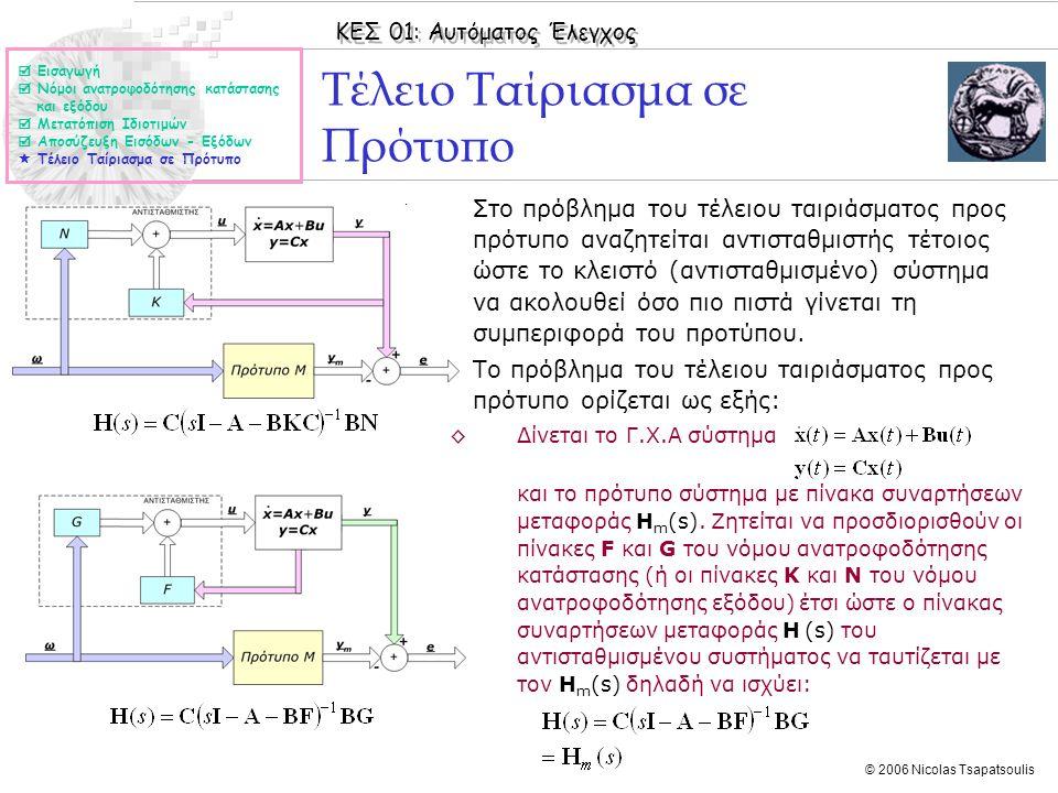 ΚΕΣ 01: Αυτόματος Έλεγχος © 2006 Nicolas Tsapatsoulis Τέλειο Ταίριασμα σε Πρότυπο ◊Στο πρόβλημα του τέλειου ταιριάσματος προς πρότυπο αναζητείται αντισταθμιστής τέτοιος ώστε το κλειστό (αντισταθμισμένο) σύστημα να ακολουθεί όσο πιο πιστά γίνεται τη συμπεριφορά του προτύπου.