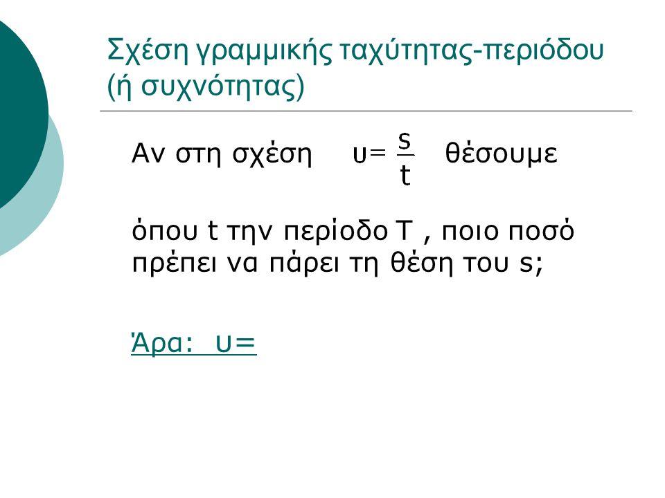 Σχέση γραμμικής ταχύτητας-περιόδου (ή συχνότητας) Αν στη σχέση θέσουμε όπου t την περίοδο Τ, ποιο ποσό πρέπει να πάρει τη θέση του s; Άρα: υ=