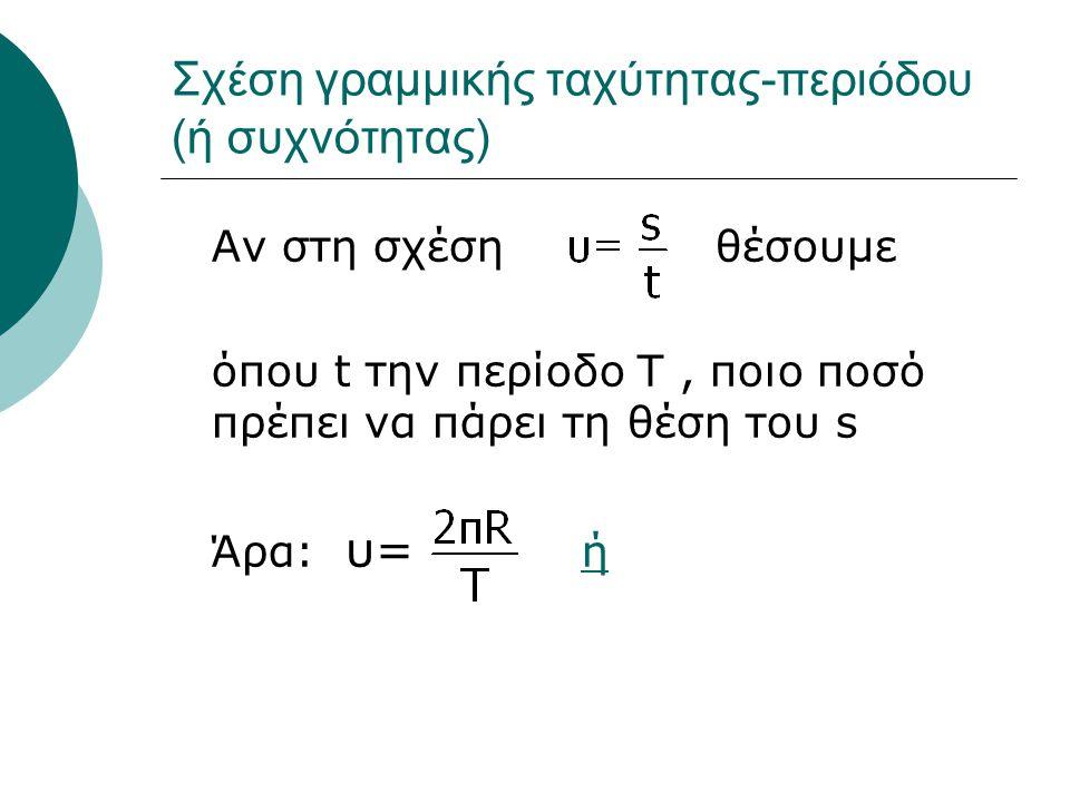 Σχέση γραμμικής ταχύτητας-περιόδου (ή συχνότητας) Αν στη σχέση θέσουμε όπου t την περίοδο Τ, ποιο ποσό πρέπει να πάρει τη θέση του s Άρα: υ= ήή