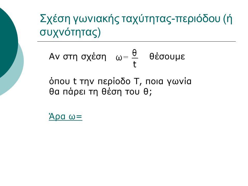 Σχέση γωνιακής ταχύτητας-περιόδου (ή συχνότητας) Αν στη σχέση θέσουμε όπου t την περίοδο Τ, ποια γωνία θα πάρει τη θέση του θ; Άρα ω=