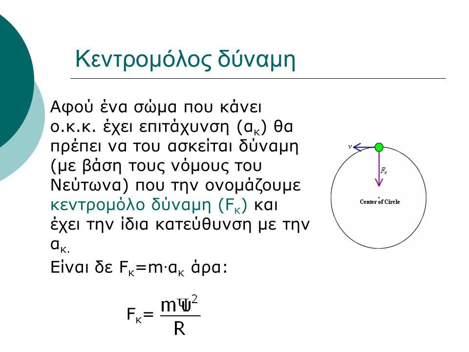 Κεντρομόλος δύναμη Αφού ένα σώμα που κάνει ο.κ.κ. έχει επιτάχυνση (α κ ) θα πρέπει να του ασκείται δύναμη (με βάση τους νόμους του Νεύτωνα) που την ον