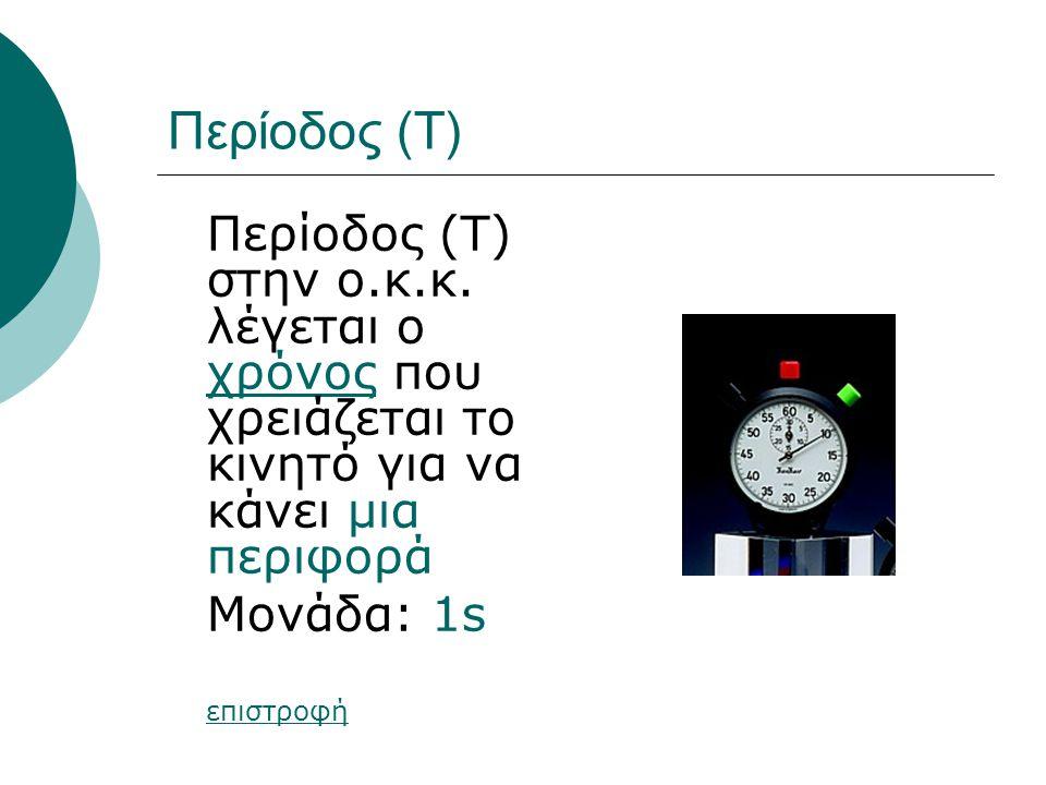Περίοδος (Τ) Περίοδος (T) στην ο.κ.κ. λέγεται ο χρόνος που χρειάζεται το κινητό για να κάνει μια περιφορά χρόνος Μονάδα: 1s επιστροφή