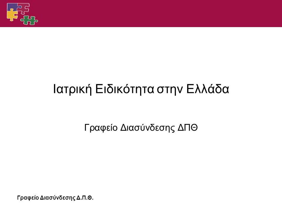 Γραφείο Διασύνδεσης Δ.Π.Θ. Ιατρική Ειδικότητα στην Ελλάδα Γραφείο Διασύνδεσης ΔΠΘ
