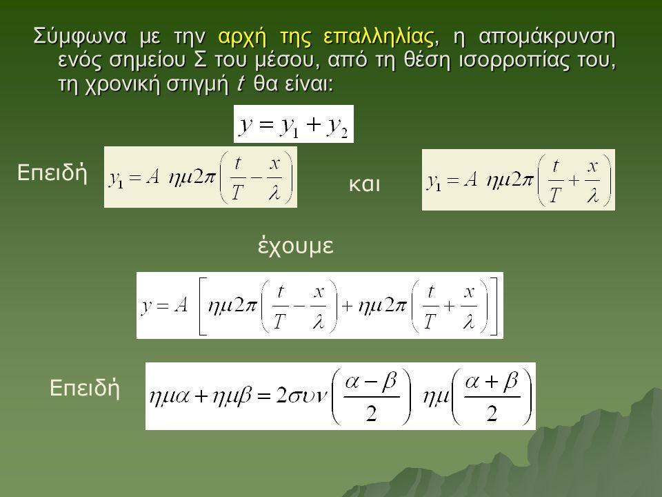 Σύμφωνα με την αρχή της επαλληλίας, η απομάκρυνση ενός σημείου Σ του μέσου, από τη θέση ισορροπίας του, τη χρονική στιγμή t θα είναι: και έχουμε Επειδή