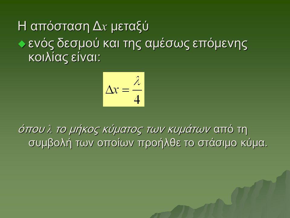 H απόσταση Δ x μεταξύ  ενός δεσμού και της αμέσως επόμενης κοιλίας είναι: όπου λ το μήκος κύματος των κυμάτων από τη συμβολή των οποίων προήλθε το στάσιμο κύμα.