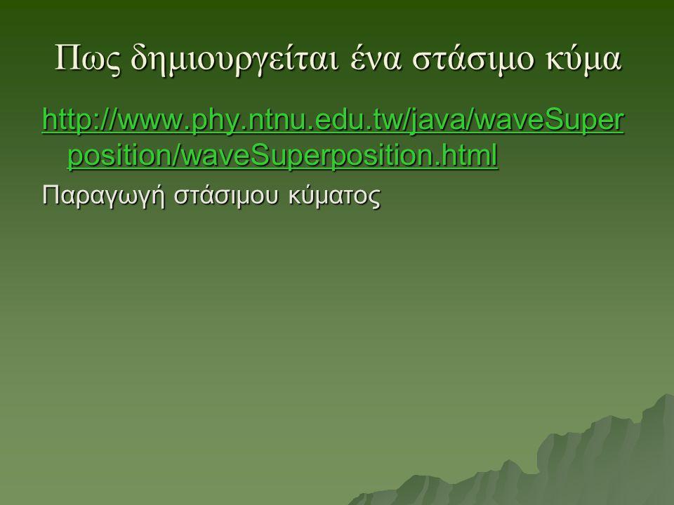 Πως δημιουργείται ένα στάσιμο κύμα http://www.phy.ntnu.edu.tw/java/waveSuper position/waveSuperposition.html http://www.phy.ntnu.edu.tw/java/waveSuper position/waveSuperposition.html Παραγωγή στάσιμου κύματος