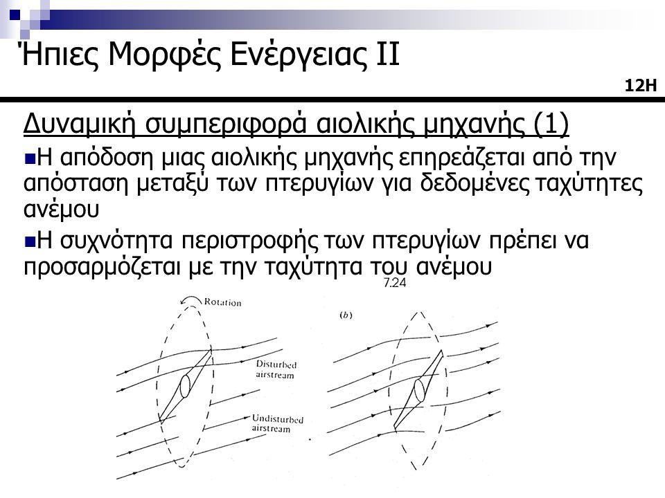 Δυναμική συμπεριφορά αιολικής μηχανής (1)  Η απόδοση μιας αιολικής μηχανής επηρεάζεται από την απόσταση μεταξύ των πτερυγίων για δεδομένες ταχύτητες ανέμου  Η συχνότητα περιστροφής των πτερυγίων πρέπει να προσαρμόζεται με την ταχύτητα του ανέμου 12Η12Η Ήπιες Μορφές Ενέργειας ΙΙ