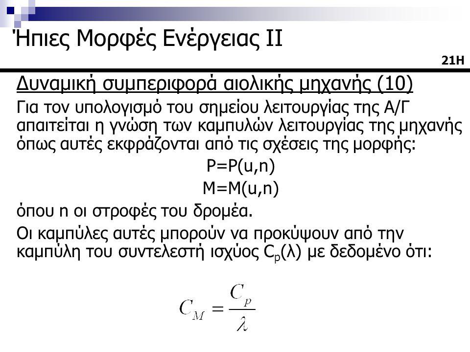 Δυναμική συμπεριφορά αιολικής μηχανής (10) Για τον υπολογισμό του σημείου λειτουργίας της Α/Γ απαιτείται η γνώση των καμπυλών λειτουργίας της μηχανής όπως αυτές εκφράζονται από τις σχέσεις της μορφής: P=P(u,n) M=M(u,n) όπου n οι στροφές του δρομέα.
