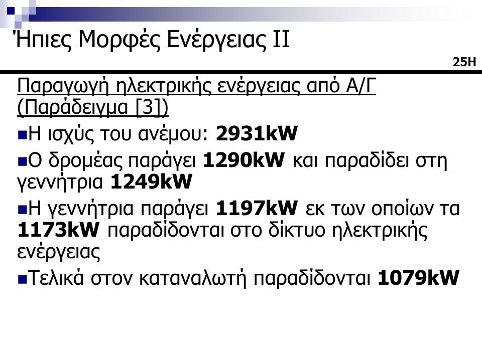 Παραγωγή ηλεκτρικής ενέργειας από Α/Γ (Παράδειγμα [3])  Η ισχύς του ανέμου: 2931kW  Ο δρομέας παράγει 1290kW και παραδίδει στη γεννήτρια 1249kW  Η γεννήτρια παράγει 1197kW εκ των οποίων τα 1173kW παραδίδονται στο δίκτυο ηλεκτρικής ενέργειας  Τελικά στον καταναλωτή παραδίδονται 1079kW 25Η Ήπιες Μορφές Ενέργειας ΙΙ