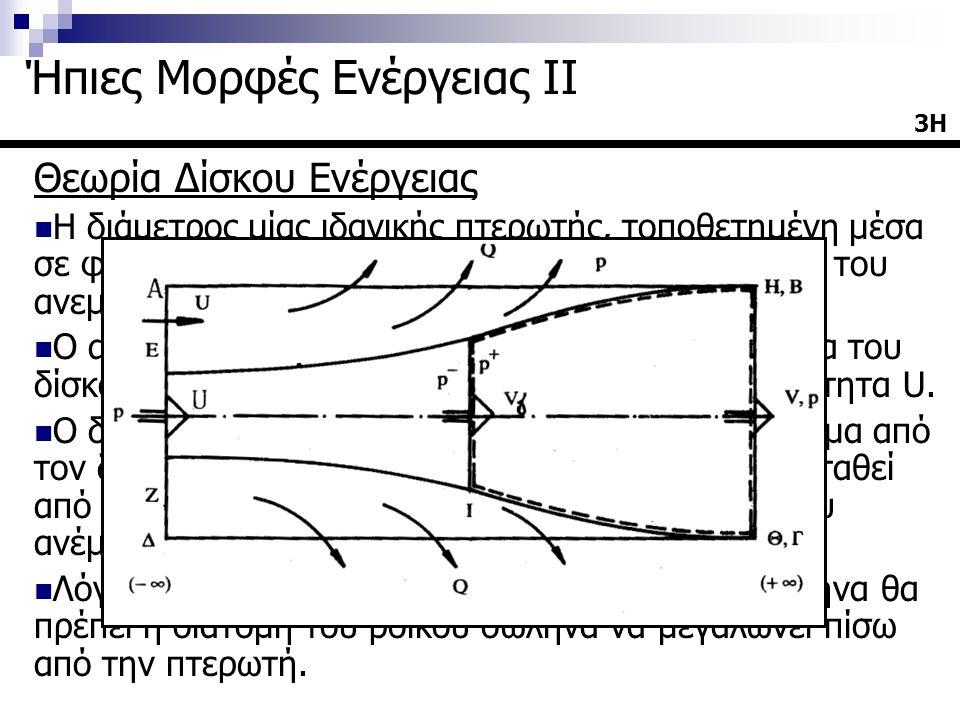 Θεωρία Δίσκου Ενέργειας  Η διάμετρος μίας ιδανικής πτερωτής, τοποθετημένη μέσα σε φλέβα κινούμενου αέρα ορίζει τον ροïκό σωλήνα του ανεμοκινητήρα  Ο αέρας πολύ μακρυά (στο άπειρο) στα προσήνεμα του δίσκου έχει πίεση p και πλησιάζει τον δίσκο με ταχύτητα U.