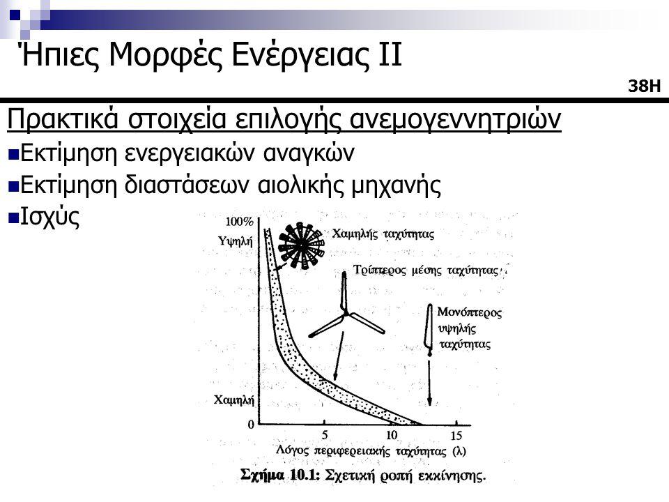 Πρακτικά στοιχεία επιλογής ανεμογεννητριών  Εκτίμηση ενεργειακών αναγκών  Εκτίμηση διαστάσεων αιολικής μηχανής  Ισχύς 38Η38Η Ήπιες Μορφές Ενέργειας ΙΙ