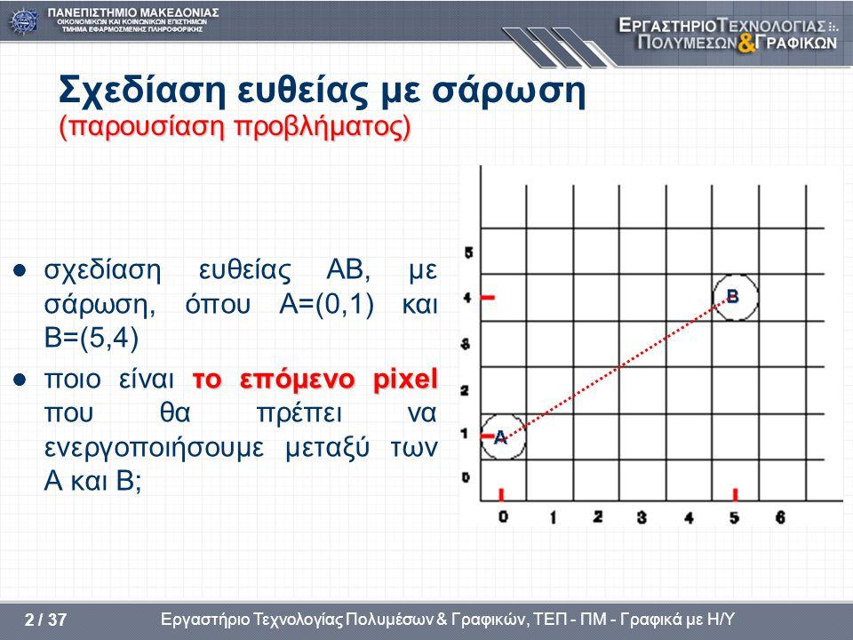 Εργαστήριο Τεχνολογίας Πολυμέσων & Γραφικών, ΤΕΠ - ΠΜ - Γραφικά με Η/Υ 2 / 37 (παρουσίαση προβλήματος) Σχεδίαση ευθείας με σάρωση (παρουσίαση προβλήματος)  σχεδίαση ευθείας AB, με σάρωση, όπου A=(0,1) και B=(5,4) το επόμενοpixel  ποιο είναι το επόμενο pixel που θα πρέπει να ενεργοποιήσουμε μεταξύ των Α και Β;