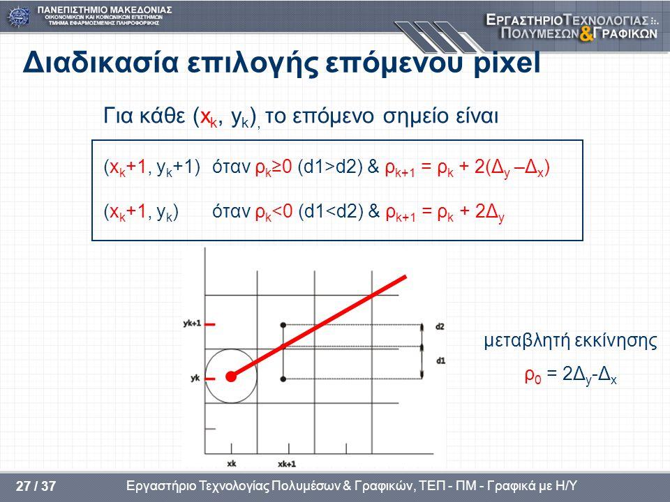 Εργαστήριο Τεχνολογίας Πολυμέσων & Γραφικών, ΤΕΠ - ΠΜ - Γραφικά με Η/Υ 27 / 37 Διαδικασία επιλογής επόμενου pixel Για κάθε (x k, y k ), το επόμενο σημείο είναι (x k +1, y k +1) όταν ρ k ≥0 (d1>d2) & ρ k+1 = ρ k + 2(Δ y –Δ x ) (x k +1, y k ) όταν ρ k <0 (d1<d2) & ρ k+1 = ρ k + 2Δ y μεταβλητή εκκίνησης ρ 0 = 2Δ y -Δ x