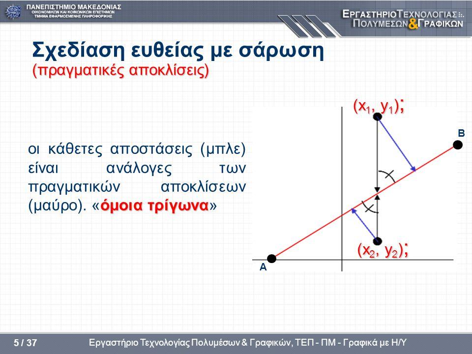 Εργαστήριο Τεχνολογίας Πολυμέσων & Γραφικών, ΤΕΠ - ΠΜ - Γραφικά με Η/Υ 5 / 37 (πραγματικές αποκλίσεις) Σχεδίαση ευθείας με σάρωση (πραγματικές αποκλίσεις) όμοια τρίγωνα οι κάθετες αποστάσεις (μπλε) είναι ανάλογες των πραγματικών αποκλίσεων (μαύρο).