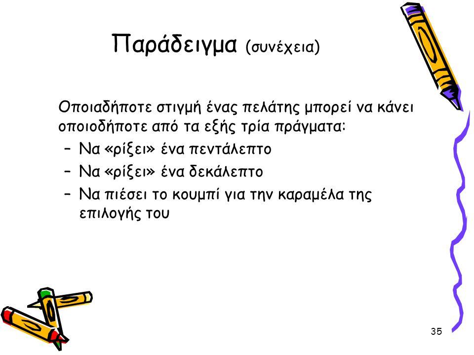 Παράδειγμα (συνέχεια) Οποιαδήποτε στιγμή ένας πελάτης μπορεί να κάνει οποιοδήποτε από τα εξής τρία πράγματα: –Να «ρίξει» ένα πεντάλεπτο –Να «ρίξει» ένα δεκάλεπτο –Να πιέσει το κουμπί για την καραμέλα της επιλογής του 35
