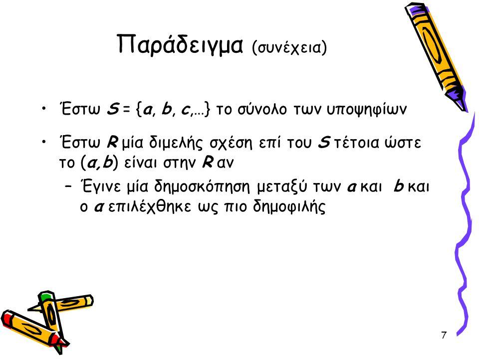 Παράδειγμα (συνέχεια) •Έστω S = {a, b, c,…} το σύνολο των υποψηφίων •Έστω R μία διμελής σχέση επί του S τέτοια ώστε το (α,b) είναι στην R αν –Έγινε μία δημοσκόπηση μεταξύ των a και b και ο α επιλέχθηκε ως πιο δημοφιλής 7