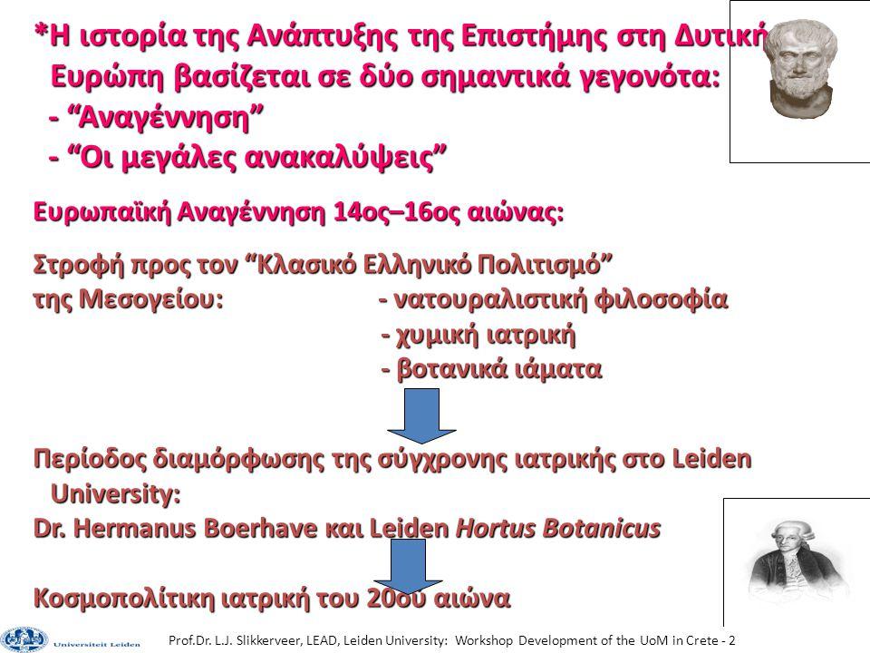 Prof.Dr. L.J. Slikkerveer, LEAD, Leiden University: Workshop Development of the UoM in Crete - 2 *Η ιστορία της Ανάπτυξης της Επιστήμης στη Δυτική Ευρ