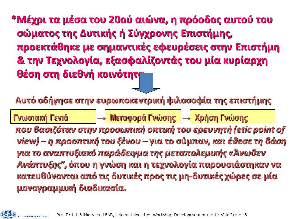 Prof.Dr. L.J. Slikkerveer, LEAD, Leiden University: Workshop Development of the UoM in Crete - 5 *Μέχρι τα μέσα του 20ού αιώνα, η πρόοδος αυτού του σώ