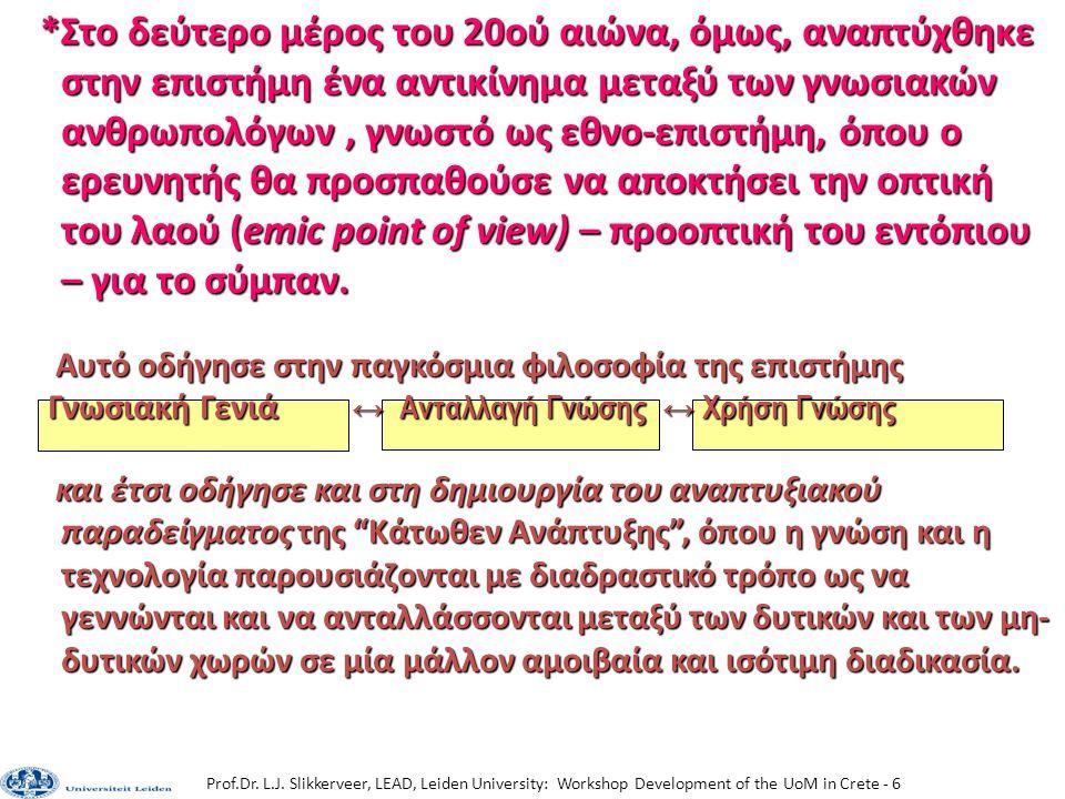 Prof.Dr. L.J. Slikkerveer, LEAD, Leiden University: Workshop Development of the UoM in Crete - 6 *Στο δεύτερο μέρος του 20ού αιώνα, όμως, αναπτύχθηκε