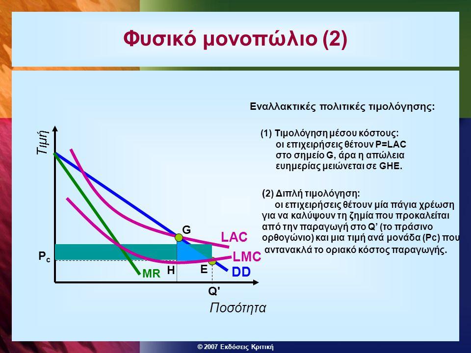 © 2007 Εκδόσεις Κριτική Φυσικό μονοπώλιο (2) DD LMC LAC MR Ποσότητα Τιμή Q PcPc E ( 2) Διπλή τιμολόγηση: οι επιχειρήσεις θέτουν μία πάγια χρέωση για να καλύψουν τη ζημία που προκαλείται από την παραγωγή στο Q' (το πράσινο ορθογώνιο) και μια τιμή ανά μονάδα (Pc) που αντανακλά το οριακό κόστος παραγωγής.
