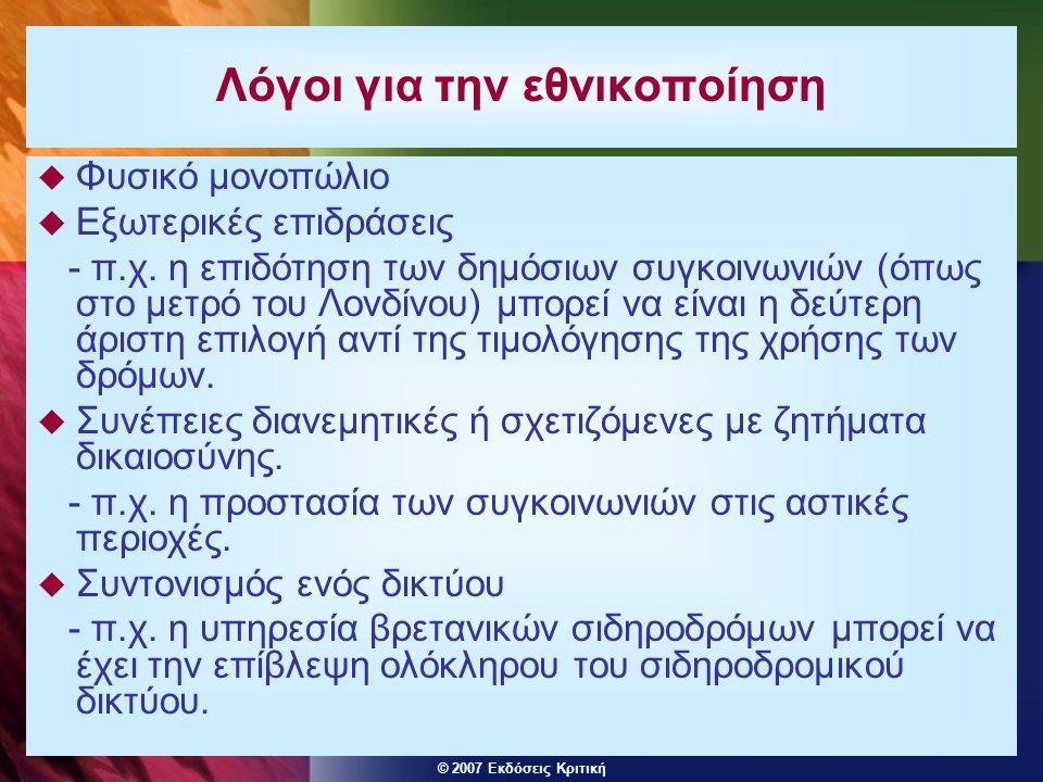© 2007 Εκδόσεις Κριτική Λόγοι για την εθνικοποίηση  Φυσικό μονοπώλιο  Εξωτερικές επιδράσεις - π.χ.