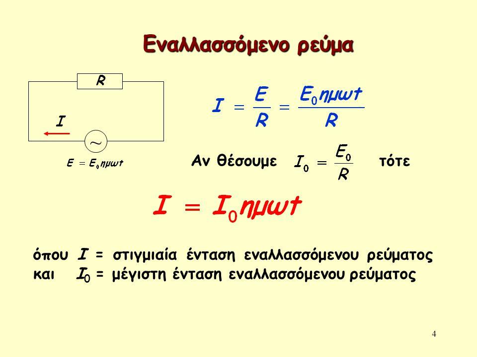 4 Εναλλασσόμενο ρεύμα Ι ~ R Αν θέσουμε τότε όπου Ι = στιγμιαία ένταση εναλλασσόμενου ρεύματος και Ι 0 = μέγιστη ένταση εναλλασσόμενου ρεύματος