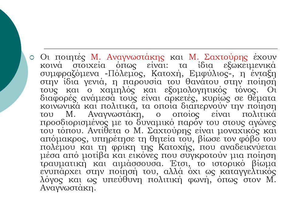  Οι ποιητές Μ.Αναγνωστάκης και Μ.