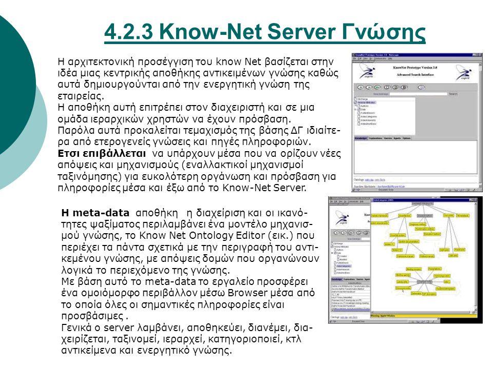 4.2.3 Know-Net Server Γνώσης Η αρχιτεκτονική προσέγγιση του know Net βασίζεται στην ιδέα μιας κεντρικής αποθήκης αντικειμένων γνώσης καθώς αυτά δημιουργούνται από την ενεργητική γνώση της εταιρείας.