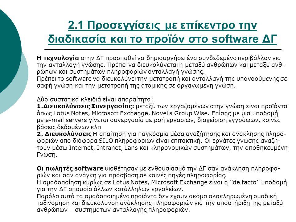 2.1 Προσεγγίσεις με επίκεντρο την διαδικασία και το προϊόν στο software ΔΓ Η τεχνολογία στην ΔΓ προσπαθεί να δημιουργήσει ένα συνδεδεμένο περιβάλλον γ