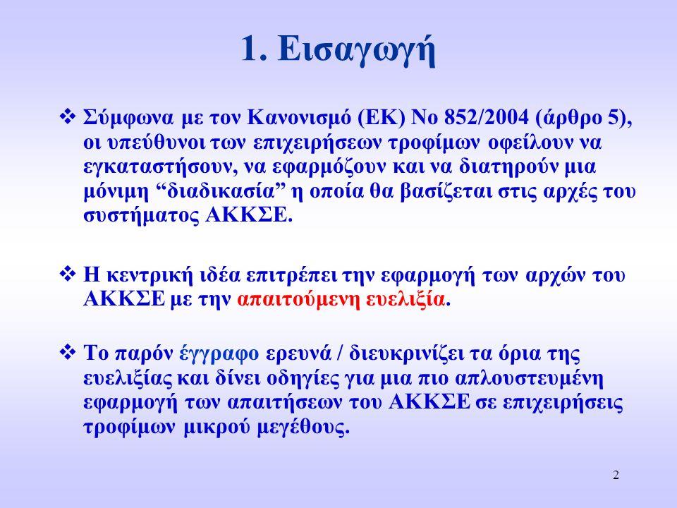2 1. Εισαγωγή  Σύμφωνα με τον Κανονισμό (ΕΚ) Νο 852/2004 (άρθρο 5), οι υπεύθυνοι των επιχειρήσεων τροφίμων οφείλουν να εγκαταστήσουν, να εφαρμόζουν κ