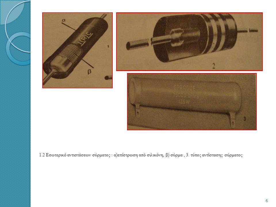 Αντιστάσεις μεταλλικής ταινίας (Metal Film Resistors)  Κατασκευή : σε κυλινδρικό μεταλλικό σώμα τοποθετείται ομοιογενείς μεταλλική ταινία από νικέλιο
