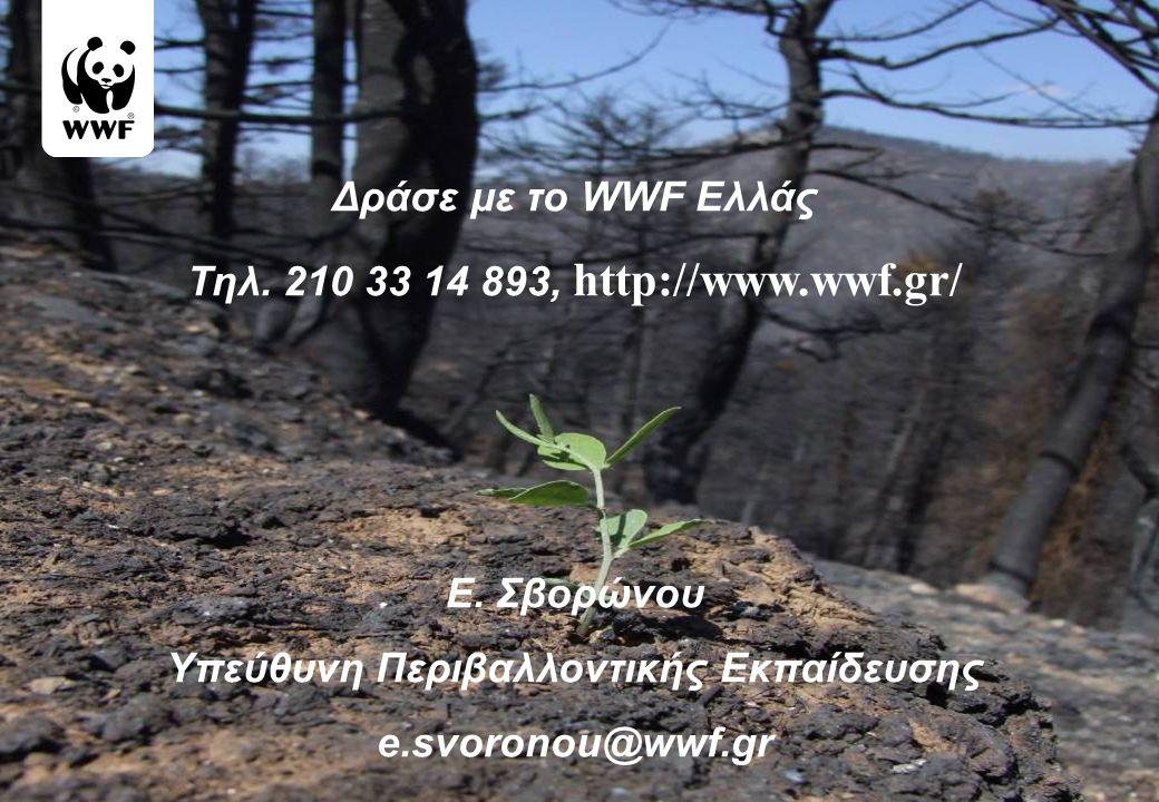 Δράσε με το WWF Ελλάς Τηλ. 210 33 14 893, http://www.wwf.gr/ Ε. Σβορώνου Yπεύθυνη Περιβαλλοντικής Εκπαίδευσης e.svoronou@wwf.gr