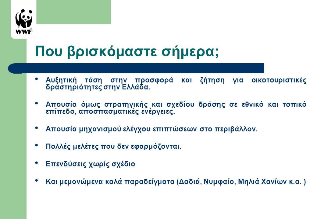Που βρισκόμαστε σήμερα; • Αυξητική τάση στην προσφορά και ζήτηση για οικοτουριστικές δραστηριότητες στην Ελλάδα. • Απουσία όμως στρατηγικής και σχεδίο