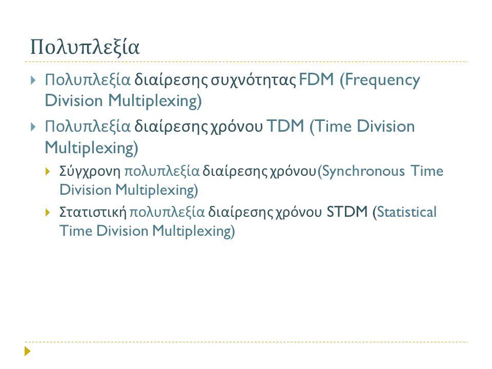  Πολυπλεξία διαίρεσης συχνότητας FDM (Frequency Division Multiplexing)  Πολυπλεξία διαίρεσης χρόνου TDM (Time Division Multiplexing)  Σύγχρονη πολυ