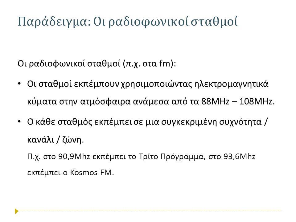 Παράδειγμα : Οι ραδιοφωνικοί σταθμοί Οι ραδιοφωνικοί σταθμοί (π.χ. στα fm): • Οι σταθμοί εκπέμπουν χρησιμοποιώντας ηλεκτρομαγνητικά κύματα στην ατμόσφ