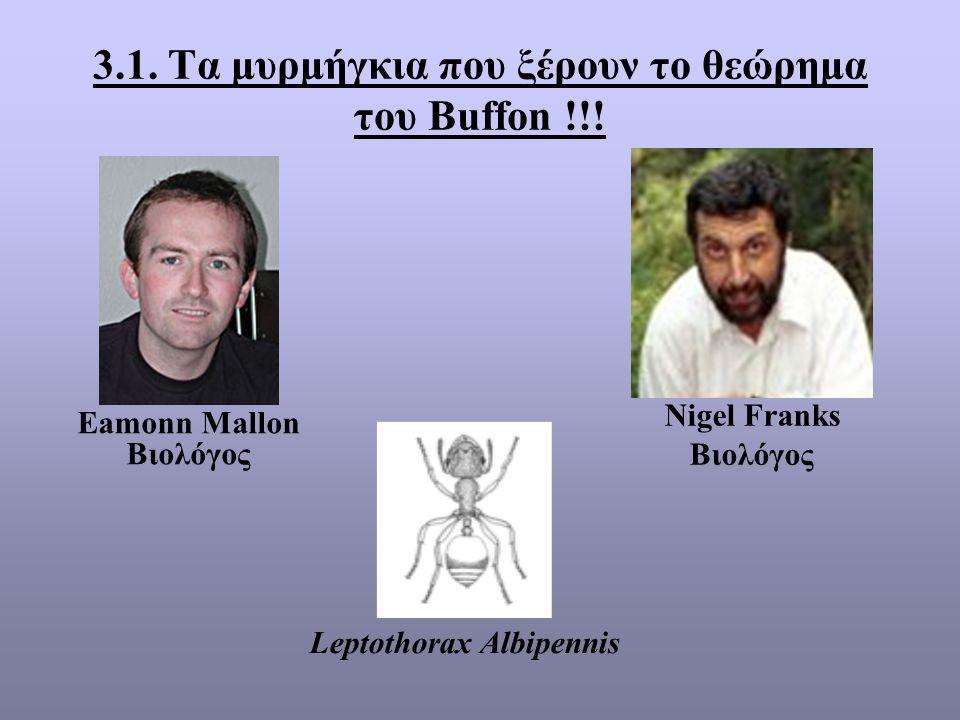 3.1. Τα μυρμήγκια που ξέρουν το θεώρημα του Buffon !!! Eamonn Mallon Βιολόγος Nigel Franks Βιολόγος Leptothorax Albipennis