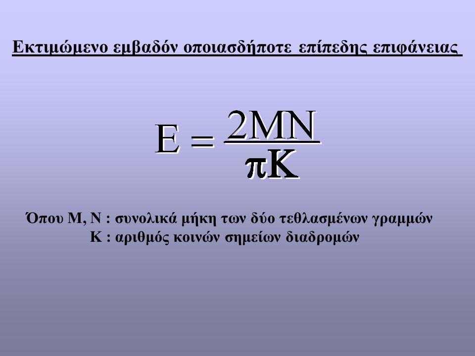Όπου Μ, Ν : συνολικά μήκη των δύο τεθλασμένων γραμμών Κ : αριθμός κοινών σημείων διαδρομών Εκτιμώμενο εμβαδόν οποιασδήποτε επίπεδης επιφάνειας