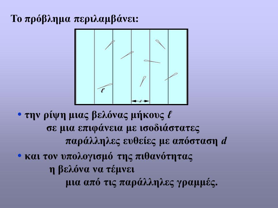  την ρίψη μιας βελόνας μήκους ℓ σε μια επιφάνεια με ισοδιάστατες παράλληλες ευθείες με απόσταση d  και τον υπολογισμό της πιθανότητας η βελόνα να τέ