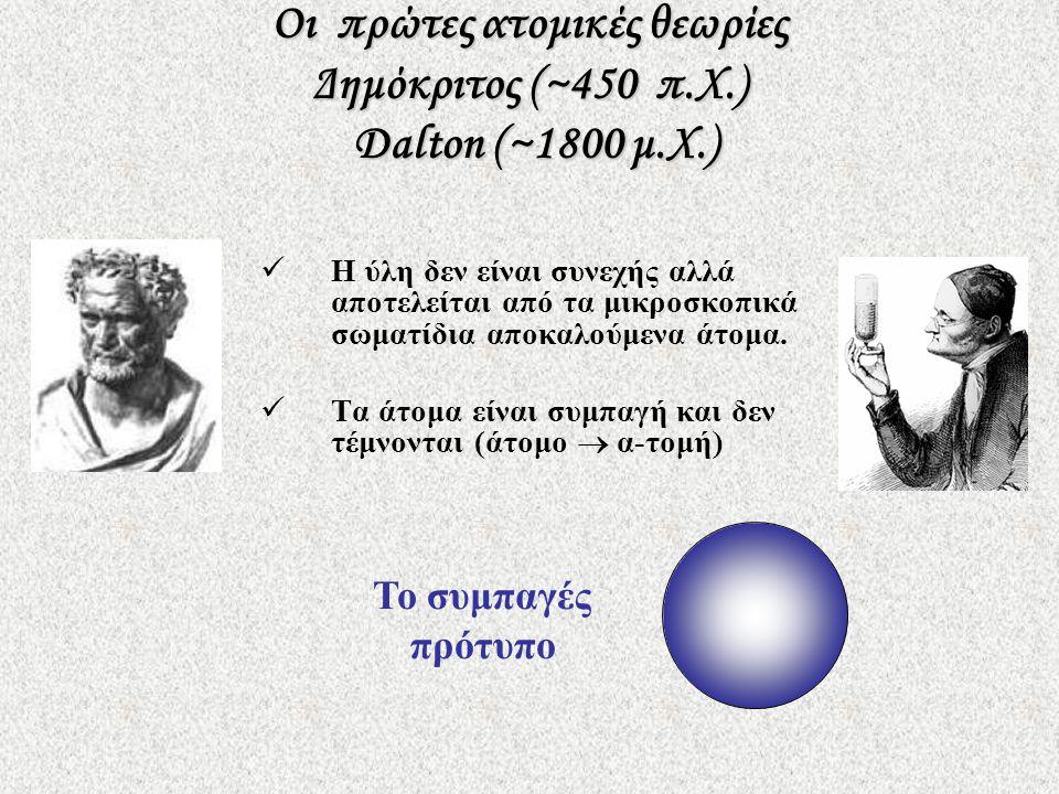 Οι πρώτες ατομικές θεωρίες Δημόκριτος (~450 π.Χ.) Dalton (~1800 μ.Χ.)  Η ύλη δεν είναι συνεχής αλλά αποτελείται από τα μικροσκοπικά σωματίδια αποκαλούμενα άτομα.