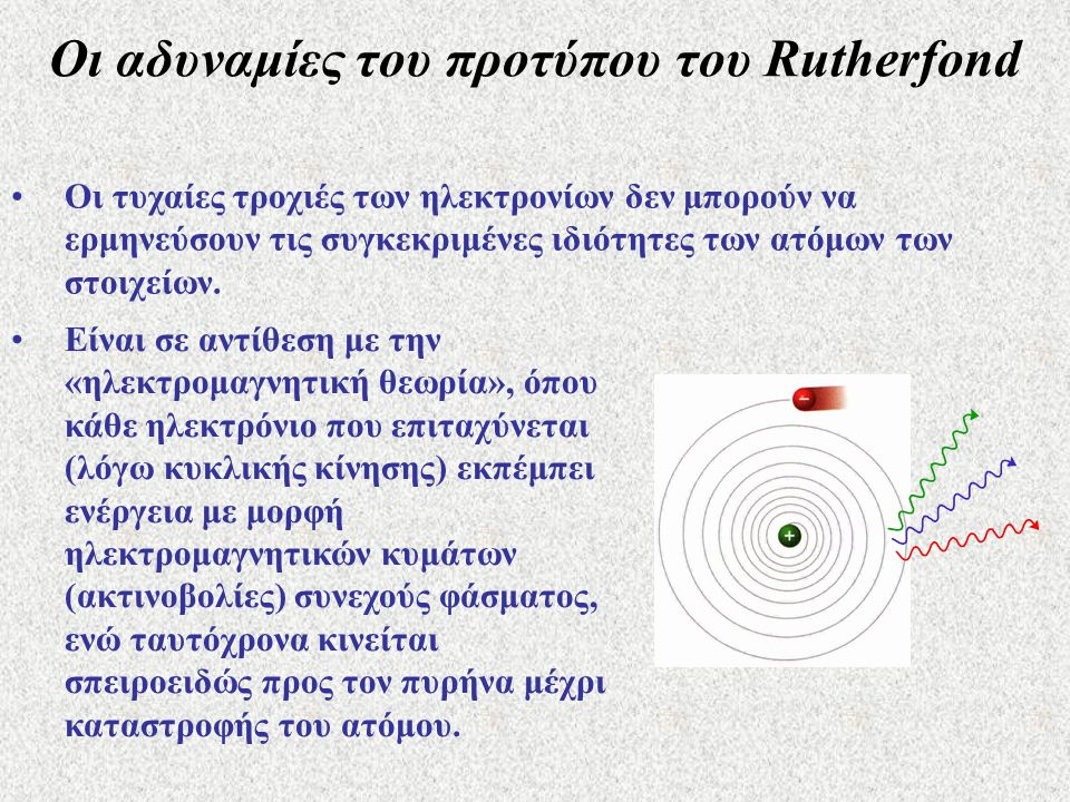Οι αδυναμίες του προτύπου του Rutherfond •Οι τυχαίες τροχιές των ηλεκτρονίων δεν μπορούν να ερμηνεύσουν τις συγκεκριμένες ιδιότητες των ατόμων των στοιχείων.