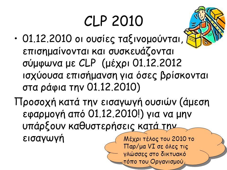 CLP 2010 •01.12.2010 οι ουσίες ταξινομούνται, επισημαίνονται και συσκευάζονται σύμφωνα με CLP (μέχρι 01.12.2012 ισχύουσα επισήμανση για όσες βρίσκοντα