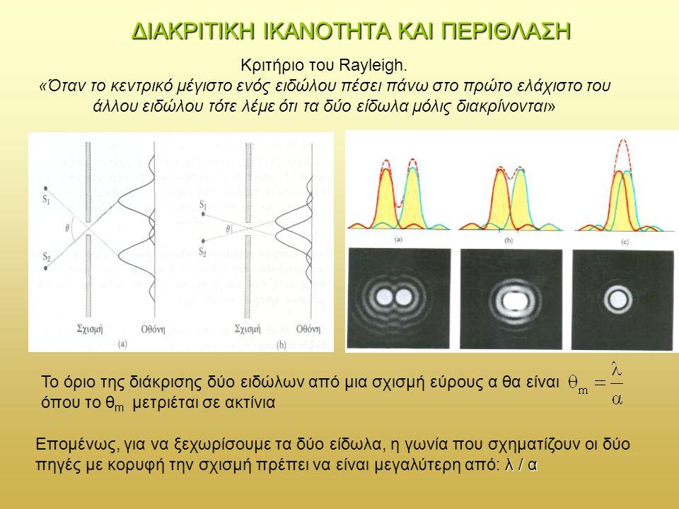 ΦΡΑΓΜΑ ΠΕΡΙΘΛΑΣΗΣ Η έκφραση της έντασης για ένα σημείο Ρ θα συνδυάζει έναν όρο περίθλασης για κάθε σχισμή – πηγή εύρους α και ένα όρο συμβολής από Ν πηγές – σχισμές που απέχουν διαδοχικά απόσταση d:
