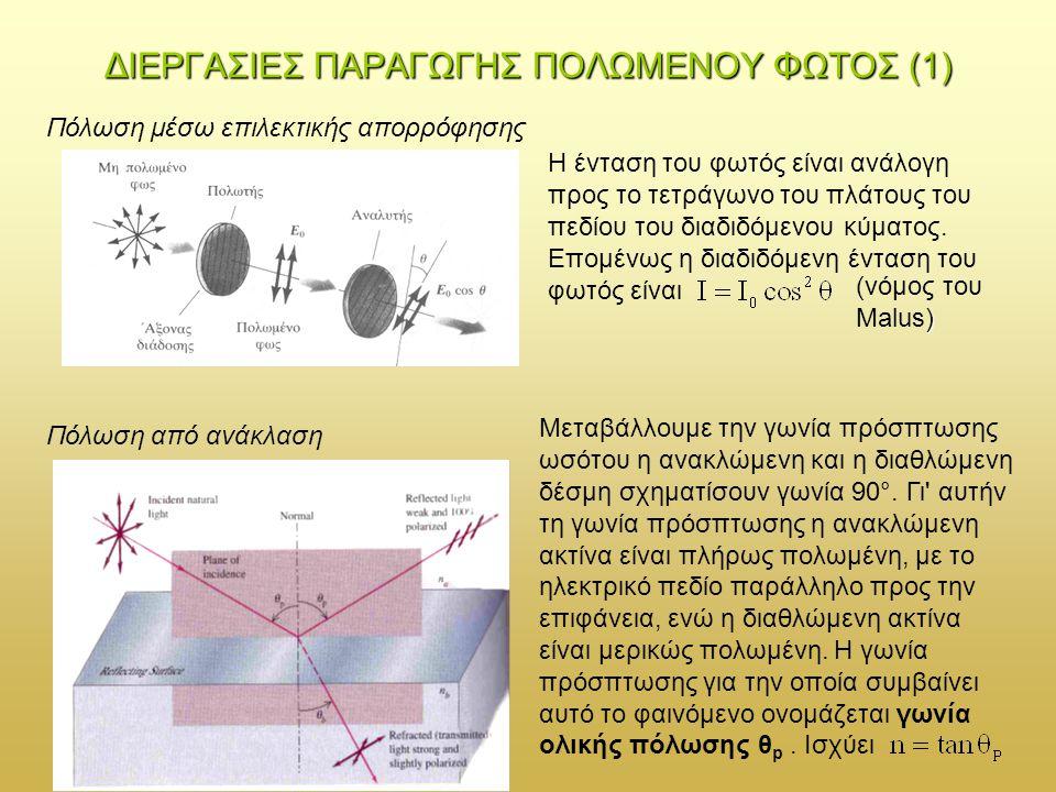 Πόλωση από διπλή διάθλαση ΔΙΕΡΓΑΣΙΕΣ ΠΑΡΑΓΩΓΗΣ ΠΟΛΩΜΕΝΟΥ ΦΩΤΟΣ (2) Υπάρχουν κρύσταλλοι, όπως είναι ο ασβεστίτης και ο χαλαζίας, στους οποίους το φως δεν διαδίδεται προς όλες τις διευθύνσεις με την ίδια ταχύτητα.