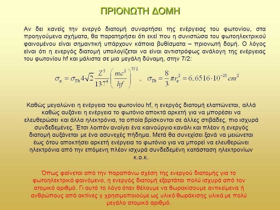 ΠΡΙΟΝΩΤΗ ΔΟΜΗ Αν δει κανείς την ενεργό διατομή συναρτήσει της ενέργειας του φωτονίου, στα προηγούμενα σχήματα, θα παρατηρήσει ότι εκεί που η συνιστώσα του φωτοηλεκτρικού φαινομένου είναι σημαντική υπάρχουν κάποια βυθίσματα – πριονωτή δομή.