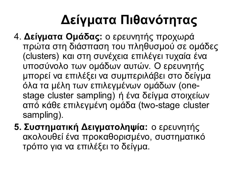 Δείγματα Πιθανότητας 4. Δείγματα Ομάδας: ο ερευνητής προχωρά πρώτα στη διάσπαση του πληθυσμού σε ομάδες (clusters) και στη συνέχεια επιλέγει τυχαία έν