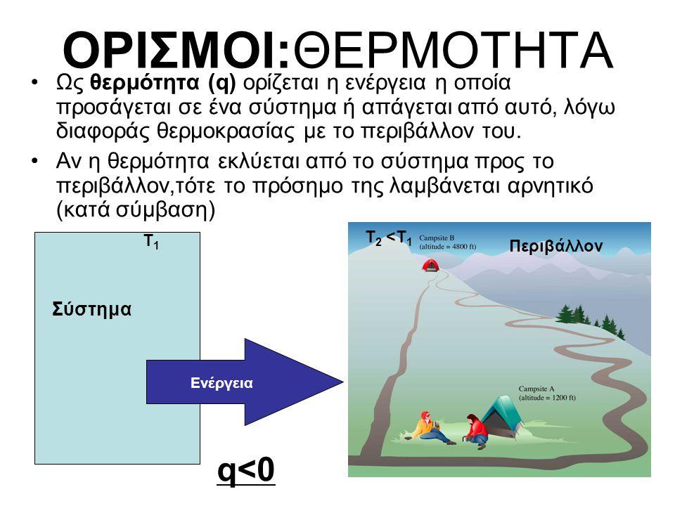 ΘΕΡΜΟΤΗΤΑ •Η θερμότητα που εκλύεται ή απορροφάται σε μία χημική αντίδραση (σύστημα) εξαρτάται από τις συνθήκες P,V •Oταν η αντίδραση γίνεται σε ανοικτό δοχείο, η πίεση θεωρείται σταθερή (=ατμοσφαιρική), οπότε μιλάμε για q P.