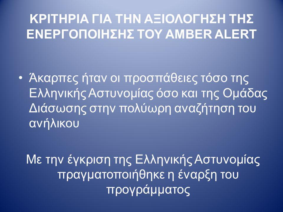 ΚΡΙΤΗΡΙΑ ΓΙΑ ΤΗΝ ΑΞΙΟΛΟΓΗΣΗ ΤΗΣ ΕΝΕΡΓΟΠΟΙΗΣΗΣ ΤΟΥ AMBER ALERT •Άκαρπες ήταν οι προσπάθειες τόσο της Ελληνικής Αστυνομίας όσο και της Ομάδας Διάσωσης στην πολύωρη αναζήτηση του ανήλικου Με την έγκριση της Ελληνικής Αστυνομίας πραγματοποιήθηκε η έναρξη του προγράμματος