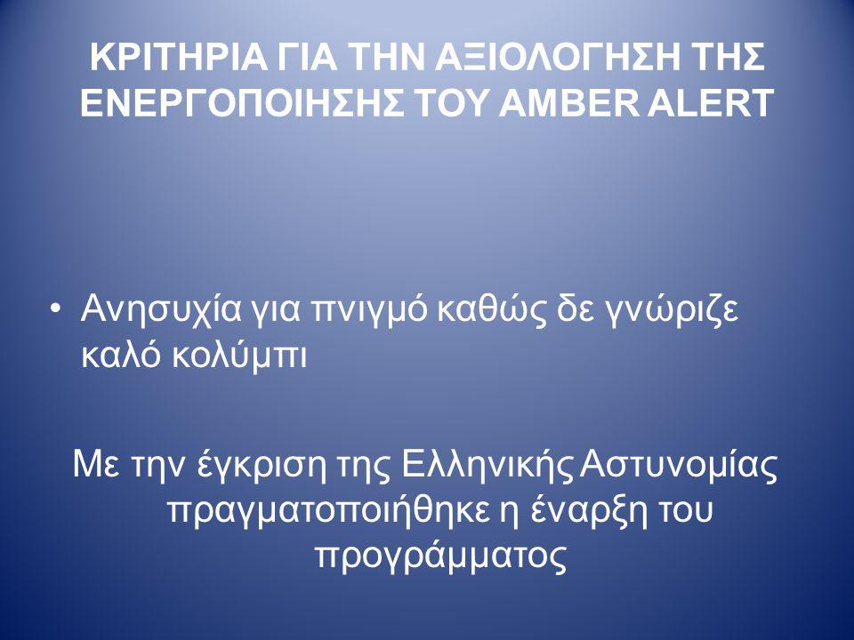 ΚΡΙΤΗΡΙΑ ΓΙΑ ΤΗΝ ΑΞΙΟΛΟΓΗΣΗ ΤΗΣ ΕΝΕΡΓΟΠΟΙΗΣΗΣ ΤΟΥ AMBER ALERT •Ανησυχία για πνιγμό καθώς δε γνώριζε καλό κολύμπι Με την έγκριση της Ελληνικής Αστυνομίας πραγματοποιήθηκε η έναρξη του προγράμματος