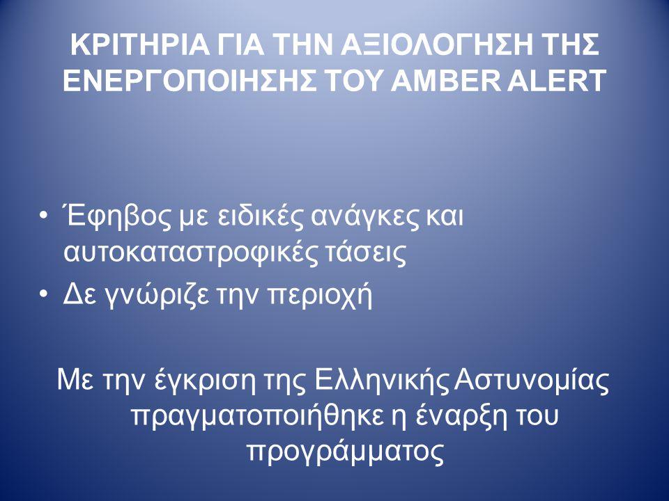 ΚΡΙΤΗΡΙΑ ΓΙΑ ΤΗΝ ΑΞΙΟΛΟΓΗΣΗ ΤΗΣ ΕΝΕΡΓΟΠΟΙΗΣΗΣ ΤΟΥ AMBER ALERT •Έφηβος με ειδικές ανάγκες και αυτοκαταστροφικές τάσεις •Δε γνώριζε την περιοχή Με την έγκριση της Ελληνικής Αστυνομίας πραγματοποιήθηκε η έναρξη του προγράμματος